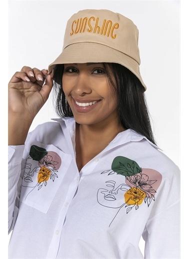 Y-London 14012 Sunshine Nakışlı Şapka Bej